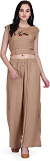 Pret A Porter Women's Rayon Party Wear Crop Top With Palazzo