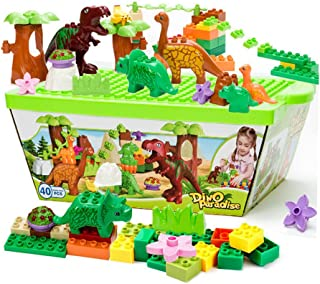 ZaH 40pcs Building Blocks Plastic Kids Toys Jurassic Dinosaur Figure Toy Learning Educational Pretend Playset Dinosaur Wor...