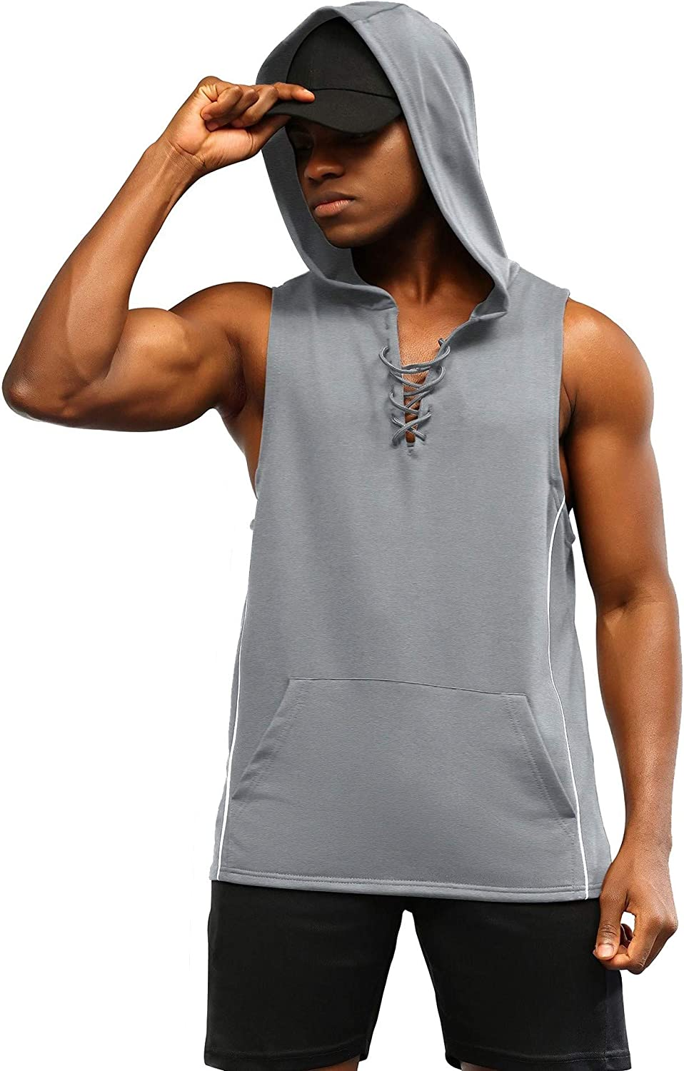 Special Campaign poriff Dedication Men's Workout Hooded Tank Tops Sh Gym Lacing T Sleeveless