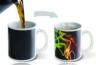Cortunex. Morning Coffee Mug. 11 Ounce. Changing Color Mug For You Or Your Friend. White Ceramic Heat Sensitive Color Changing Coffee Mug. Novelty Heat Sensitive Mug With Colorful Vape Smoke Swirls