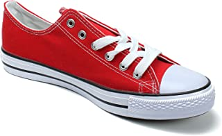 Canvas High Top Man Shoe Red & White & Brown