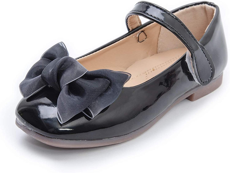 Komfyea Girl's Toddler/Little Kid Cute Bowknot Ballet Flat Dress Shoes
