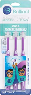 Brilliant Kids Toothbrush Ages 5-9 Years - When Adult Teeth Appear - BPA Free Super-Fine Micro Bristles Clean All-Around Mouth, Kids Love Them, Purple, 3 Count