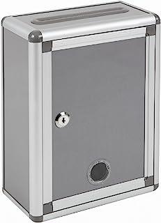 Aoakua 鍵付きBOX 募金箱 / 応募箱 / 投票箱 / アンケートボックス シルバーグレー W22cm
