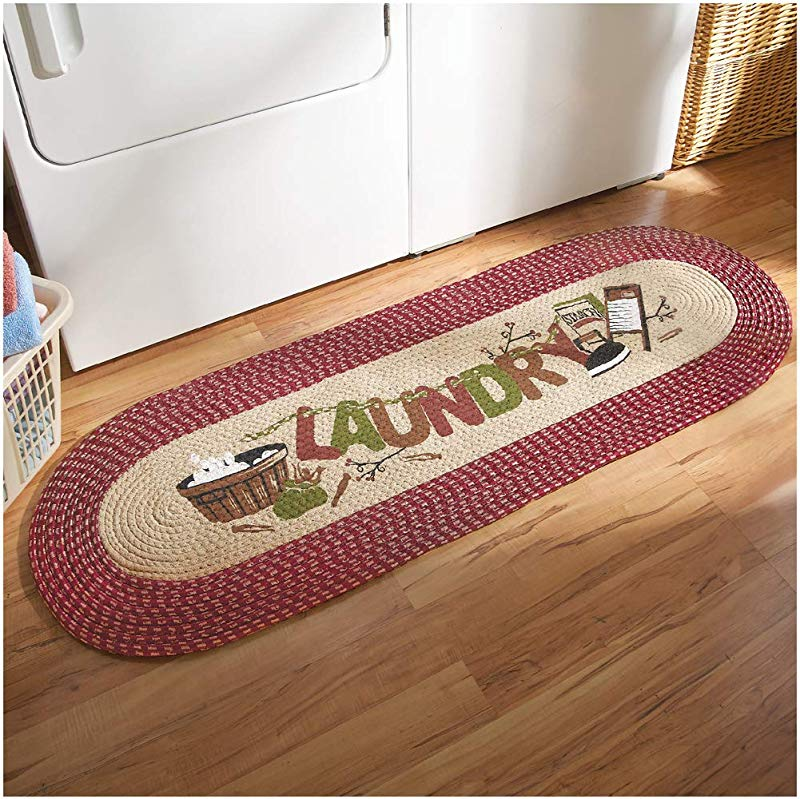 Collections Etc Vintage Laundry Room Decorative Braided Runner