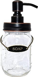 KreaSHen Mason Jar Soap Dispenser (Oil Rubbed Bronze) with Soap/Lotion Label Tag