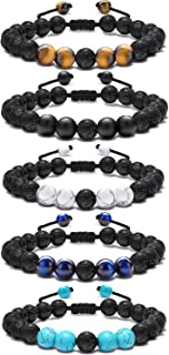 FUTTMI 5 Pcs 8mm Lava Rock Aromatherapy Anxiety Essential Oil Diffuser Bracelet Braided Rope Natural Stone Yoga Beads Bracelet for Men Women