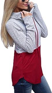 Eytino Women Long Sleeve Hoodie Sweatshirt Colorblock Tie Dye Printed Pullover Tops(S-2XL)