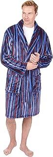 HiA Direct Men's Stripe Shawl Collar Flannel Fleece Dressing Gown Luxury Stripes Bathrobes Housecoat Gents Polyester Rich ...