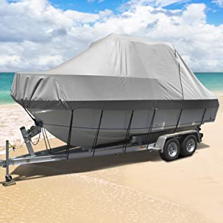Seamanship Boat Cover 19ft-21ft Waterproof Trailerable Marine Grade Heavy Duty V-Hull Fishing Ski Pro Runabouts Boats 600D...