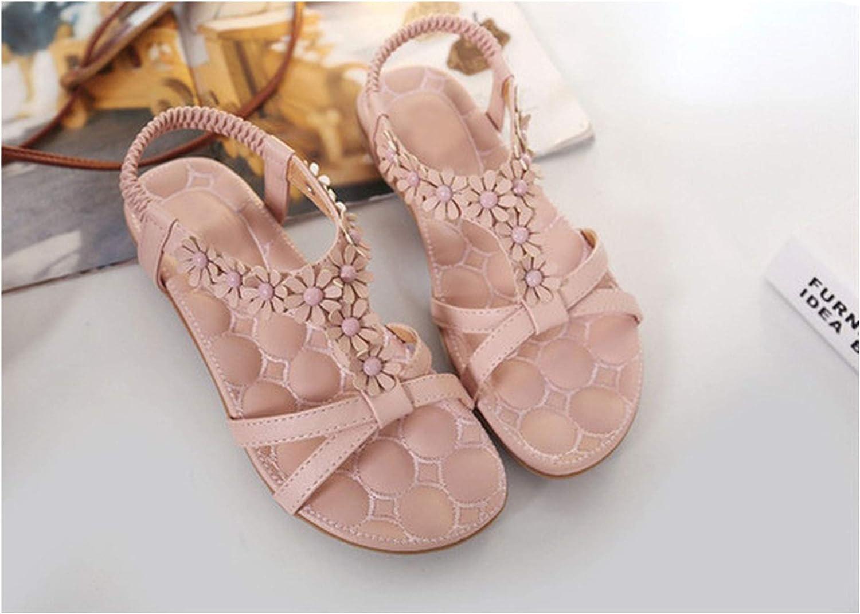 Women shoes SummerWomen Sandals Flowers Leisure Beach shoes,Pink,6