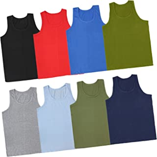 Kids Basket Baby Boys And Girls 100% Pure Cotton Color Vest Innerwear Combo Pack Of 4 And 8 Pc (11-12 Years, MultiColor-4 Pc)