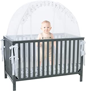 Baby Crib Safety Pop up Tent: Premium Baby Bed Canopy Netting Cover|See Through Mesh Top Nursery Mosquito Net |Stylish and Sturdy Unisex Infant Crib Tent Net |Protect Your Baby (Renewed)