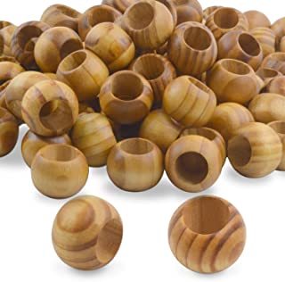Natural Wooden Beads, 100 Pieces 20mm Diameter Round Loose Spacer Beads Large Hole (10mm) Wooden Craft Beads with Beautiful Grain for DIY Handmade Decorations
