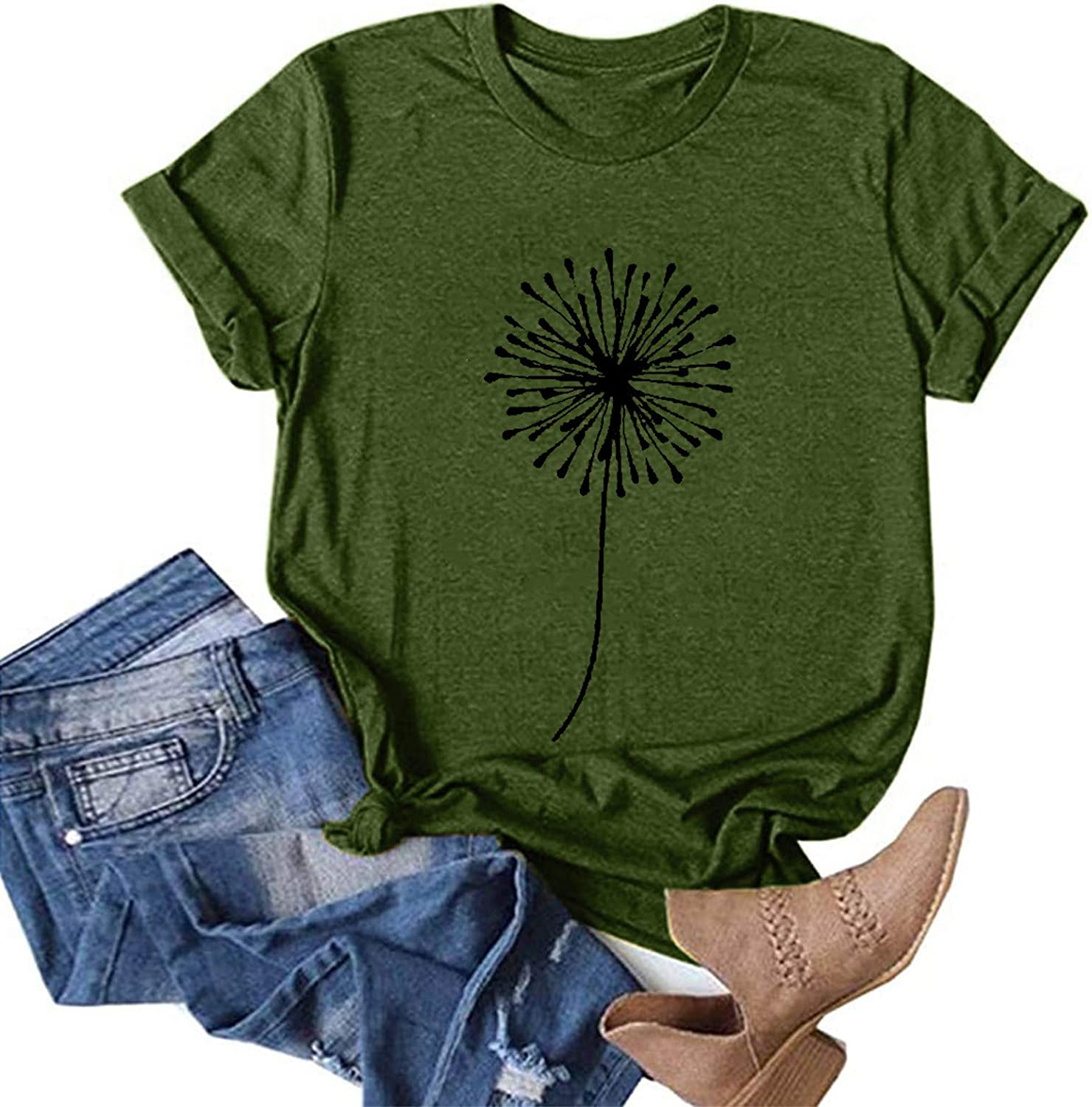 Aukbays Womens Casual Short Sleeve Dandelion Printed Tops Graphic Vintage Tees Summer T-Shirts Shirts Blouses Tunic