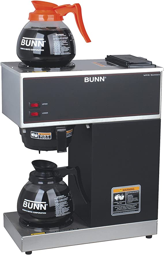 BUNN 33200.0015 VPR-2GD 12-Cup Pourover Commercial Coffee Brewer with Upper and Lower Warmers and 2 Glass Decanters