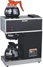 Bunn 33200.0015 VPR-2GD 12-Cup Pourover Commercial Coffee Brewer with Upper and Lower Warmers and Two Glass Decanters, Bla...
