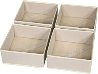 DIOMMELL 4 Pack Foldable Cloth Storage Box Closet Dresser Drawer Organizer Fabric Baskets Bins Containers Divider with Drawers for Baby Clothes Underwear Bras Socks Clothing,Beige 400