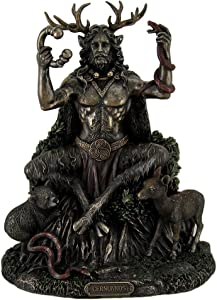 Resin Statues Cernunnos Celtic Horned God Of Animals And The Underworld Statue 9 Inch 7 X 8.75 X 5.5 Inches Bronze