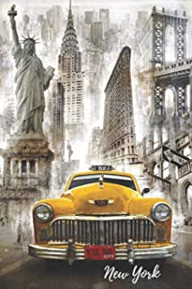 New York City: Notebook, Souvenir Journal Diary, Yellow Taxi, Statue of Liberty, Empire State Building, Brooklyn Bridge, Times Square, Manhattan, NY, ... NYC / 110 Blank Pages / Vintage Classics Cars