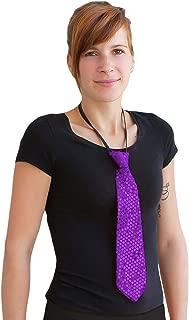 Oblique Unique® Pailletten Glitzer Krawatte Schlips - Party Fasching Karneval (Lila)