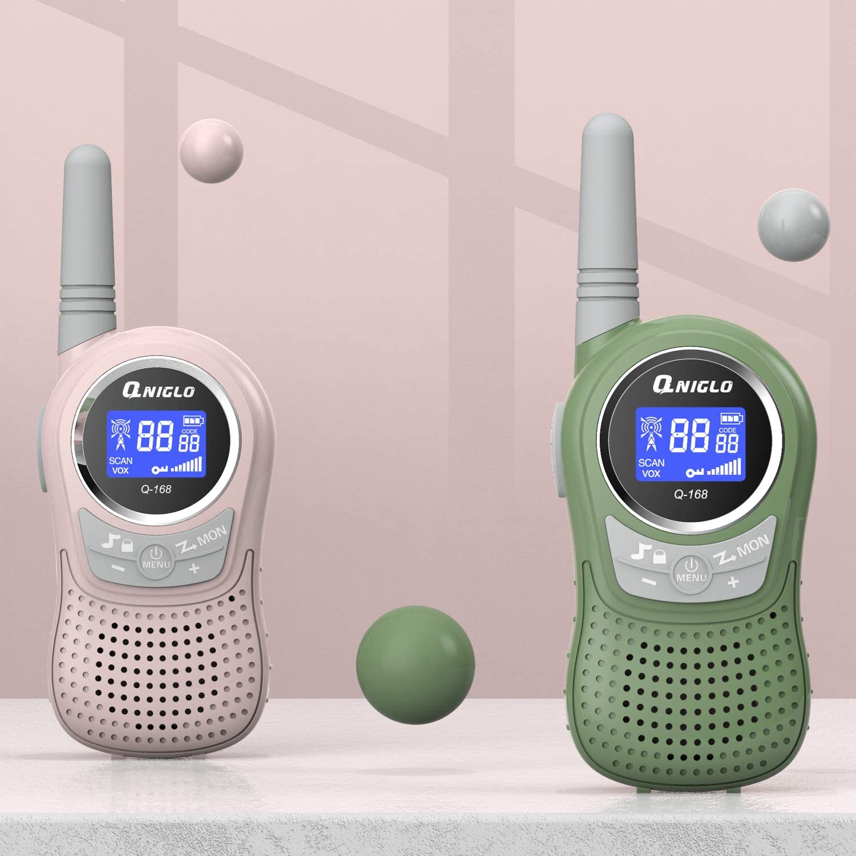 RoseVertJaune QNIGLO Q168Plus+Macaron Talkie-Walkie Enfants 3 Packs Rechargeable,Communication Bidirectionnelle PMR446 8 Canaux,Bon Assistant pour LAventure en Plein Air,Cadeau de Mode Enfants