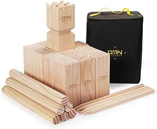 A11N SPORTS Kubb Viking Chess Lawn Game - Premium Yard Game Set with Tote Bag