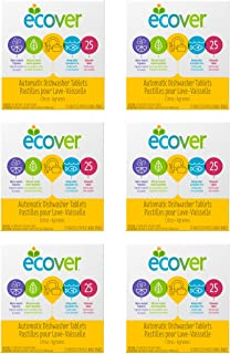 Ecover Automatic Dishwasher Soap Tablets, Citrus, 25Count (Packaging May Vary) (Pack of 6)