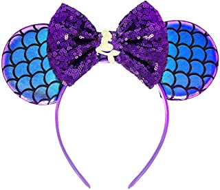 Ariel Mickey Ears, Ariel Ears, Littler Mermaid Ears, Little Mermaid Mickey Ears, Purple Minnie Ears