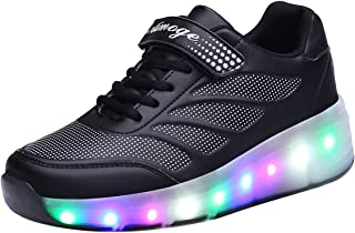 FOUPLER Boy and Girl's LED Light Up Roller Skate Shoes with Wheels Or Wings Outdoor(Little Kid/Big Kid) Pink