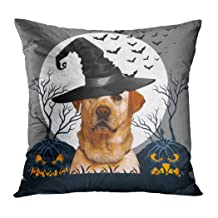 Suike Yellow Lab Halloween Pumpkin Patch Romantic Hidden Zipper Home Sofa Decorative Throw Pillow Cover Cushion Case Square 18x18 Inch Two Sides Design Printed Pillowcase