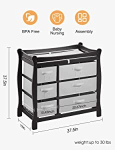 """Kealive Baby Changing Table, Infant Diaper Changing Table Wood with 6 Baskets, Dresser Nursery Station with Pad and Safety Strap for Baby, BPA Free, 37.5""""L x 19""""W x 37.5"""" H, Black"""