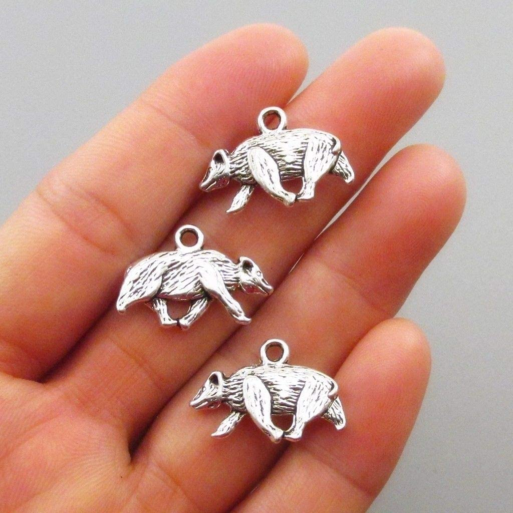 Hufflepuff Badger 21mm Antiqued Silver Plated Max 48% OFF Charms 50 Special sale item pcs