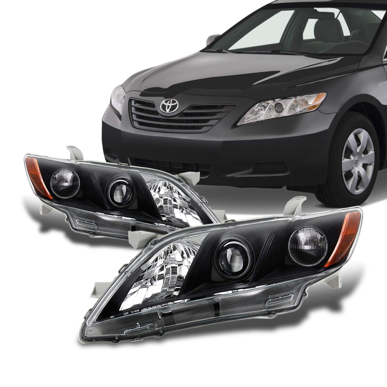 Fits 2007-2009 Toyota Camry Sedan Halogen Type Projector Headlights Black Headlamps Pair Left Driver+Right Passenger
