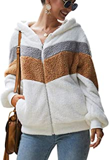 OMSJ Woman Hoodie Fleece Fuzzy Zip Up Shearling Shaggy Coat with Pockets Warm Winter Outwear
