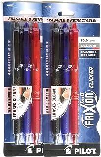 (2) Pilot Frixion Clicker Erasable Pen Black, Blue and Red Gel ink. 3 pack Bold, 1.0 mm, 11393