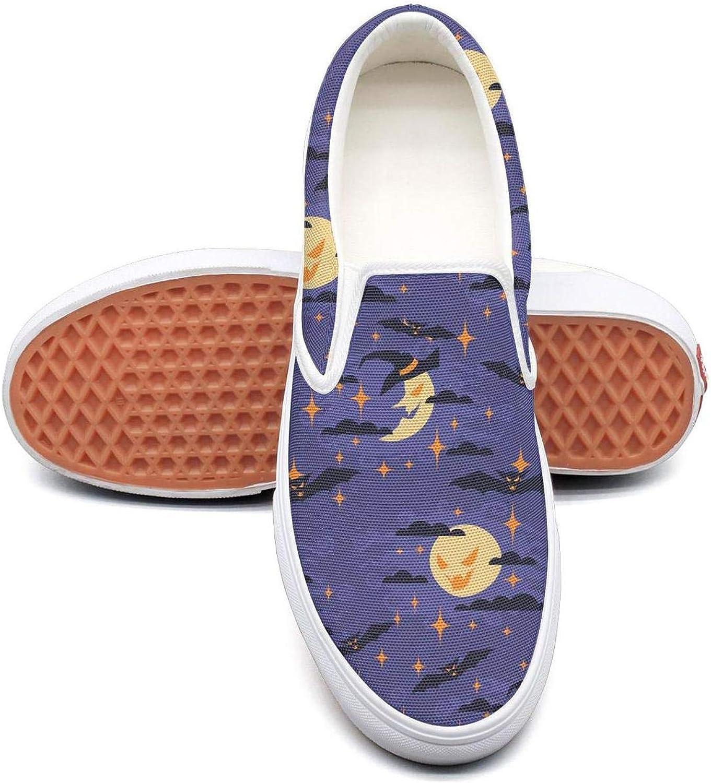 Feenfling Halloween Moon Womens Plain Slip on Low Top Canvas Running shoes