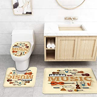 Bathroom Toilet Mats Lid Sets Rugs 3-Piece,Music Instruments Unique Infographics Template Guitar Violin Drum Electronic Organ Erhu Harmonica Microphone