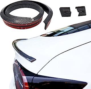 Vacallity Universal Carbon Fiber Trunk Spoiler Lip Kit 4.9ft Car Rear Spoiler Exterior Universal Fits Trunk Spoiler Wing Car Accessory Punch-Free