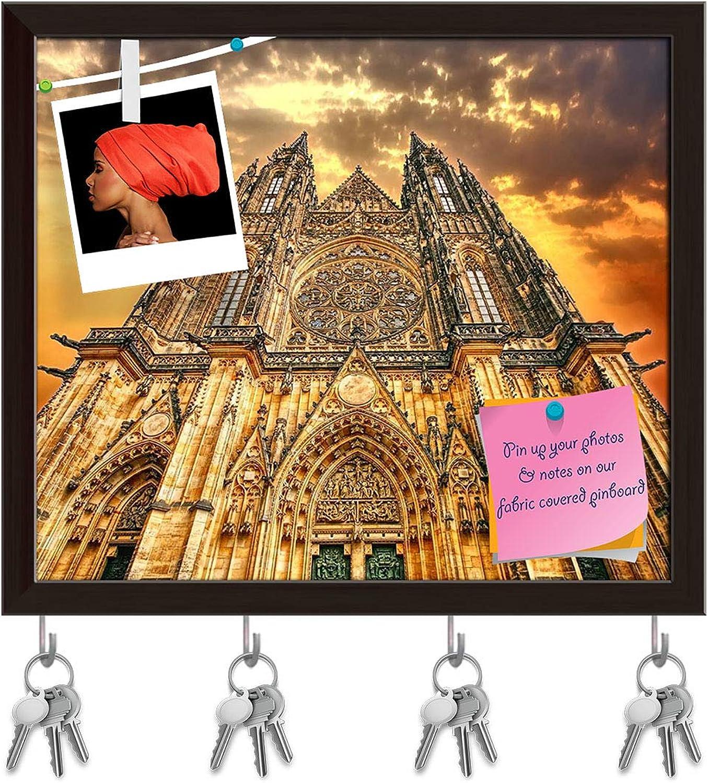 Artzfolio Cathedral Key Holder Hooks   Notice Pin Board   Dark Brown Frame 18.5 X 16Inch