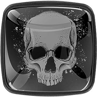 Portrait de crâne 4 PCS Tiroir de Porte Poignée, Bouton de Meubles, Boutons de Tiroir, Boutons de Porte, Poignées de Meubl...