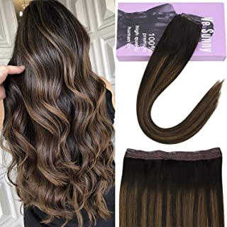【10% Off】VeSunny Clip in Hair Extensions Human Hair One Piece Invisible Hair Pieces 14Inch 5 clips Dark Brown Highlighted Light Brown Remy Brazilian Hair Clip on Hair Extensions 70g