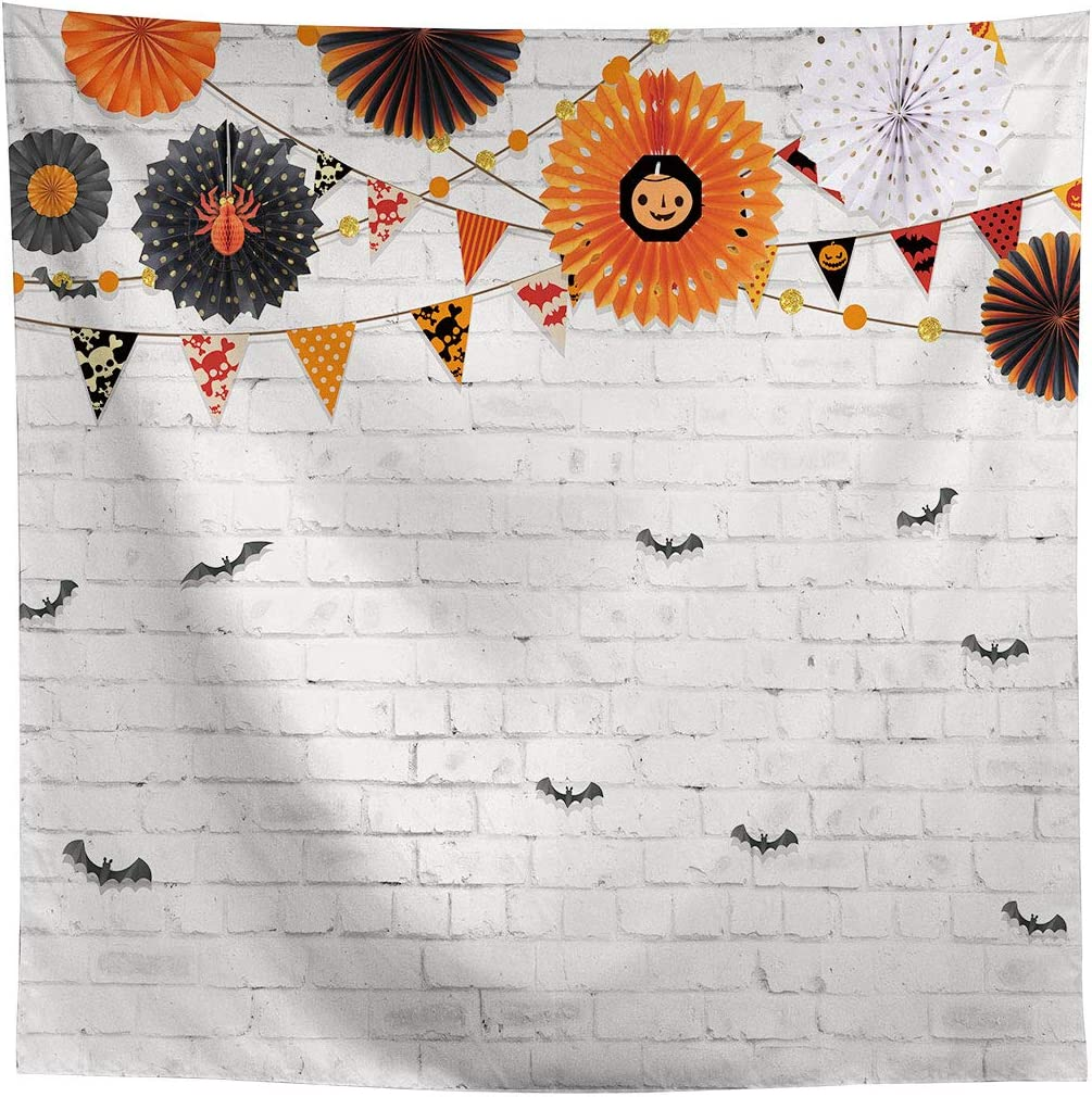 Allenjoy 7x5ft White Brick Wall Halloween Backdrop Pinwheel Flying Bats Photography Background Boys Girls Birthday Trick or Treat Party Banner Newborn Baby Shower Party Decors Cake Table Photo Props