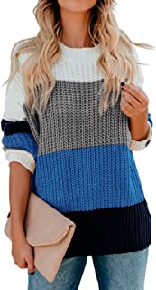 AQOTHES Women's Striped Color Block Casual Oversized Long Sleeve Knit Pullover Sweater