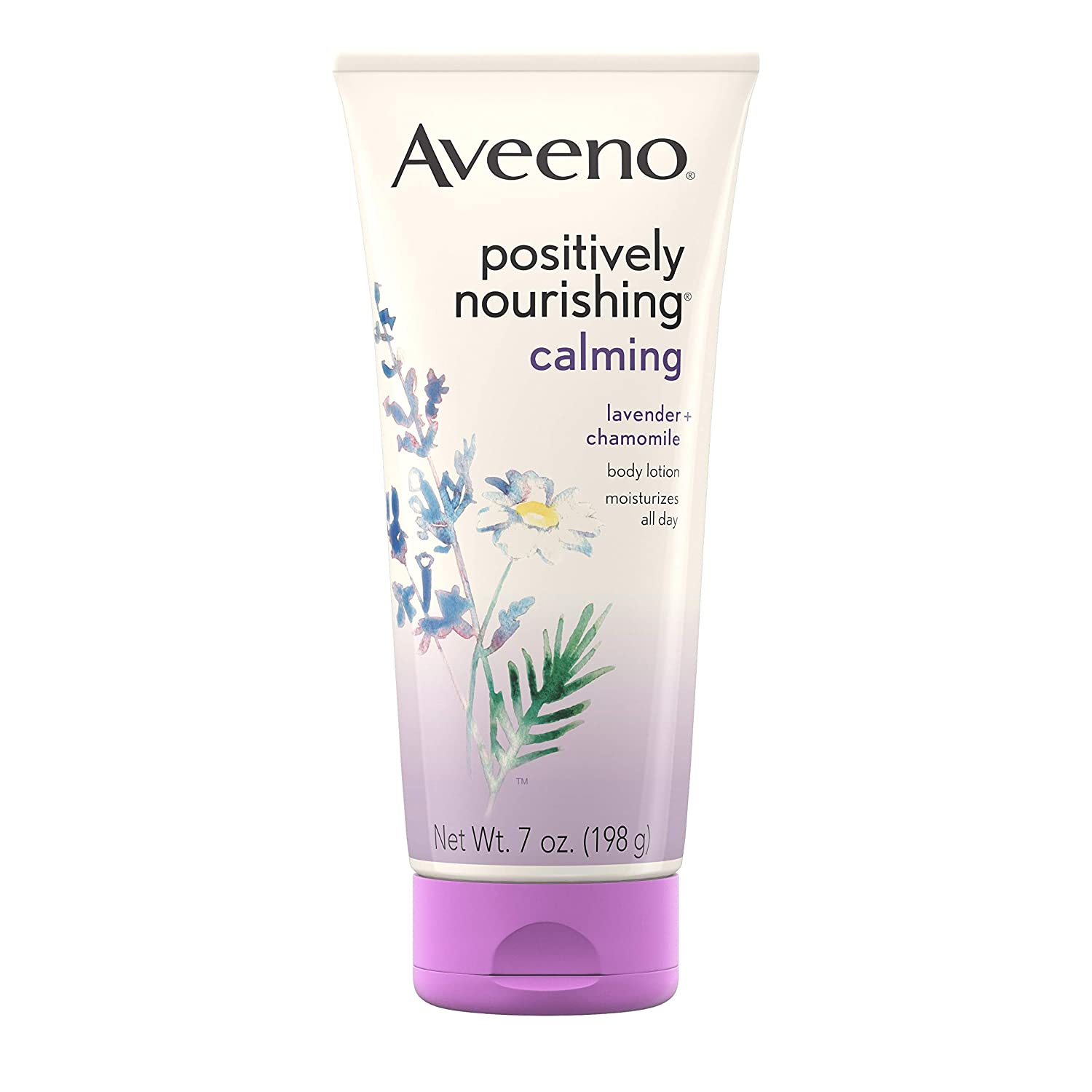 Aveeno Positively Nourishing Calming Body Lotion with Lavender, Chamomile, Soothing Oatmeal & Shea Butter, Daily Moisturizing Lotion for All-Day Hydration & Dry Skin Relief, 7 oz : Body Lotions : Beauty