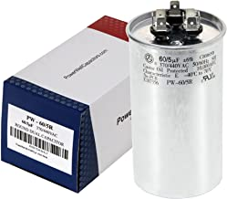 60+5 MFD uf Micro Farad 370 or 440 Volt Dual Run Round Capacitor PW-60/5/370-440R for Condenser Straight Cool or Heat Pump Air Conditioner - Guaranteed to Last 5 Years