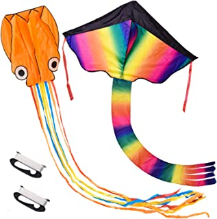 2 Pack Rainbow and Octopus Kites for Kids and Adults, Kids Outdoor Toys for Outdoor Games and Activities