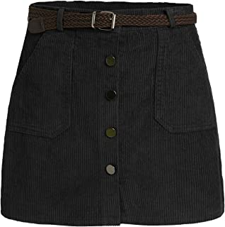 Women's Cute Mini Corduroy Button Down Pocket Skirt with Belt