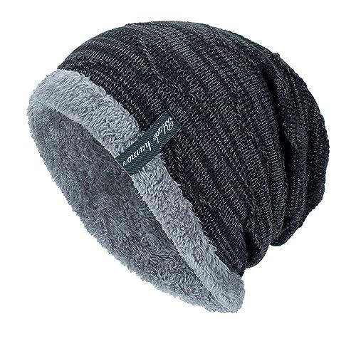b6117d3b33458 Unisex Winter Beanie Hat Scarf Set Warm Knit Hat Thick