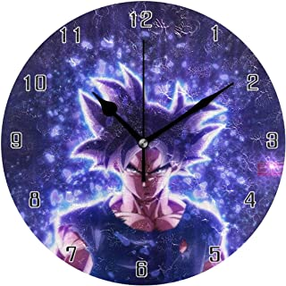 Tema anime clásico Dragon Ball Son Guku reloj de pared redondo reloj de pared decoración para el hogar reloj de escritorio silencioso a batería antideslizante para casa, oficina, escuela (10 pulgadas)